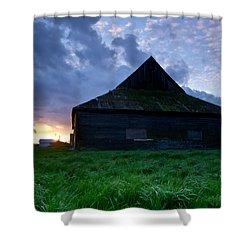 Spooky Shadow Barn Shower Curtain by Eti Reid