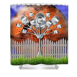 Shower Curtain featuring the mixed media Spoon Tree by Ally  White