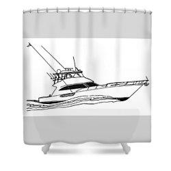 Sport Fishing Yacht Shower Curtain by Jack Pumphrey
