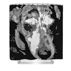 Spotted Dog Black And White Shower Curtain by Minding My  Visions by Adri and Ray
