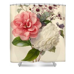 Spray Of Three Flowers Shower Curtain by Marie Anne