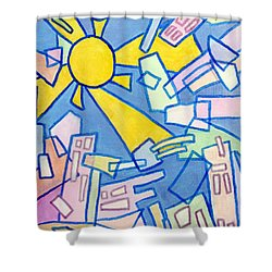 Shower Curtain featuring the mixed media Summer In The City #2 by Jim Whalen
