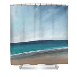 Spring Beach- Contemporary Abstract Landscape Shower Curtain by Linda Woods