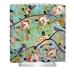 Spring Birds And Blooms Shower Curtain by Karen Tarlton