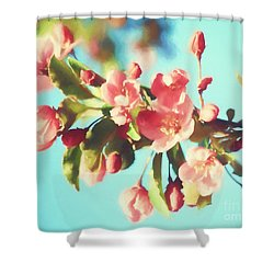 Spring Blossoms In Digital Watercolor Shower Curtain