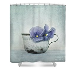 Spring Blues With A Hint Of Yellow Shower Curtain by Priska Wettstein
