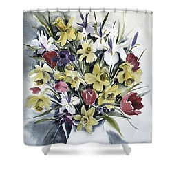 Shower Curtain featuring the painting Spring Bouquet by Joan Hartenstein