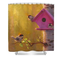 Spring Chickadees 1 - Birdhouse And Birch Forest Shower Curtain