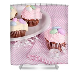 Cupcakes With A Spring Theme Shower Curtain by Vizual Studio