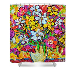 Spring Flowers Bouquet Colorful Tulips And Daffodils Shower Curtain by Ana Maria Edulescu