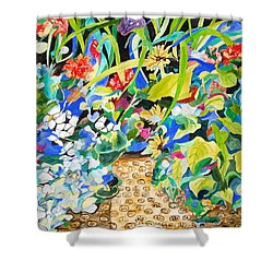 Shower Curtain featuring the painting Spring Flowers In A Brown Basket by Esther Newman-Cohen