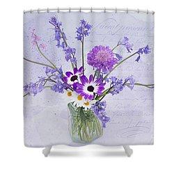Spring Flowers In A Jam Jar Shower Curtain by Ann Garrett