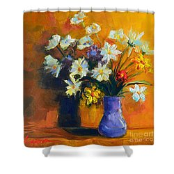 Spring Flowers In A Vase Shower Curtain by Patricia Awapara