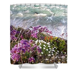 Shower Curtain featuring the photograph Spring Greets Waves by Susan Garren