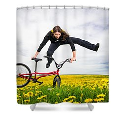 Spring Has Sprung - Bmx Flatland Artist Monika Hinz Jumping In Yellow Flower Meadow Shower Curtain by Matthias Hauser