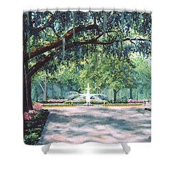 Spring In Forsythe Park Shower Curtain by Stanton Allaben