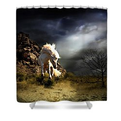 Spring In His Step Shower Curtain by Davandra Cribbie
