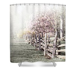 Spring Landscape With Fence Shower Curtain by Elena Elisseeva
