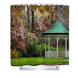 Shower Curtain featuring the photograph Spring Magnolia Garden At Magnolia Plantation by Kathy Baccari