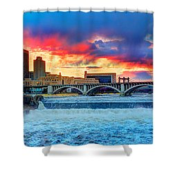 Spring Melt On The Mississippi Shower Curtain by Amanda Stadther