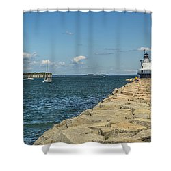 Shower Curtain featuring the photograph Spring Point Ledge Lighthouse by Jane Luxton