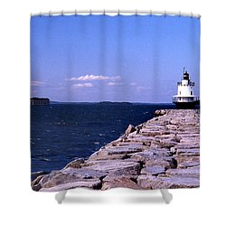 Spring Point Ledge Lighthouse Shower Curtain by Skip Willits
