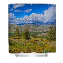 Spring Rain Across A Valley Shower Curtain by Omaste Witkowski