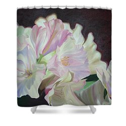 Shower Curtain featuring the painting Spring Rhodys by Nancy Jolley