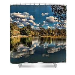 Spring River Autumn Shower Curtain by Rick Friedle