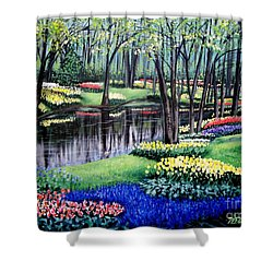 Shower Curtain featuring the painting Spring Spendor Tulip Garden by Patricia L Davidson