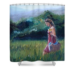Shower Curtain featuring the painting Spring Stroll by Donna Tuten