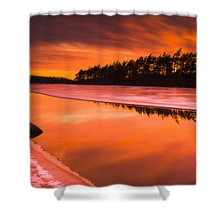 Spring Thaw Sunset, Rocky Lake, Nova Shower Curtain by Irwin Barrett