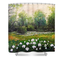 Spring Shower Curtain by Vesna Martinjak