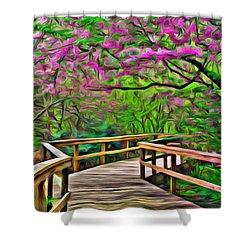 Spring Walk - Paint Rendering Shower Curtain