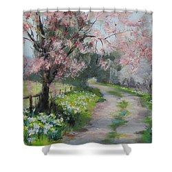 Spring Walk Shower Curtain by Karen Ilari