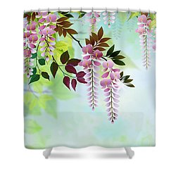 Spring Wisteria Shower Curtain by Bedros Awak