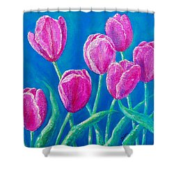 Shower Curtain featuring the painting Spring's Surprise by Susan DeLain