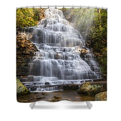 Springtime At Benton Falls Shower Curtain by Debra and Dave Vanderlaan