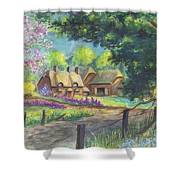 Shower Curtain featuring the painting Springtime Cottage by Carol Wisniewski
