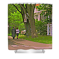 Springtime Stroll Through Beautiful Tree Lined Outremont Montreal Street Scene Art By Carole Spandau Shower Curtain by Carole Spandau