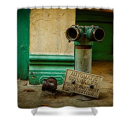 Sprinkler Green Shower Curtain by Melinda Ledsome