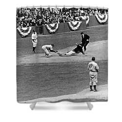 Spud Chandler Is Out At Third In The Second Game Of The 1941 Wor Shower Curtain by Underwood Archives