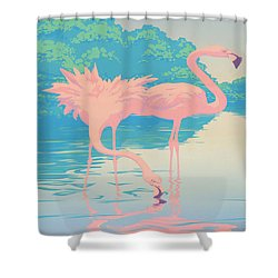 Square Format - Pink Flamingos Retro Pop Art Nouveau Tropical Bird 80s 1980s Florida Painting Print Shower Curtain