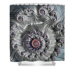 Square Format Abstract Fractal Spiral Art Shower Curtain by Matthias Hauser