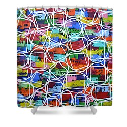 Square Peg Round Hole Shower Curtain