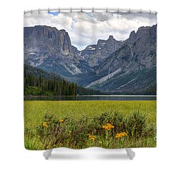 Squaretop Mountain And Upper Green River Lake  Shower Curtain