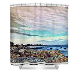 Squibby Cliffs And Mackerel Sky Shower Curtain by Kathy Barney