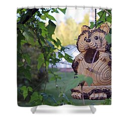 Squirrel Bird Feeder Shower Curtain