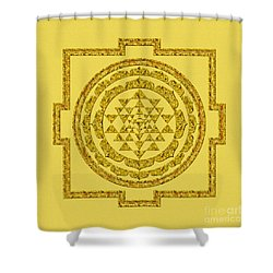 Sri Yantra In Gold Shower Curtain