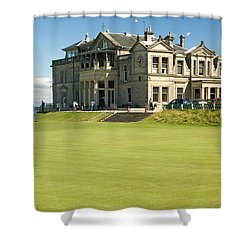 St Andrews Final Green And Clubhouse  Shower Curtain by Jeremy Voisey